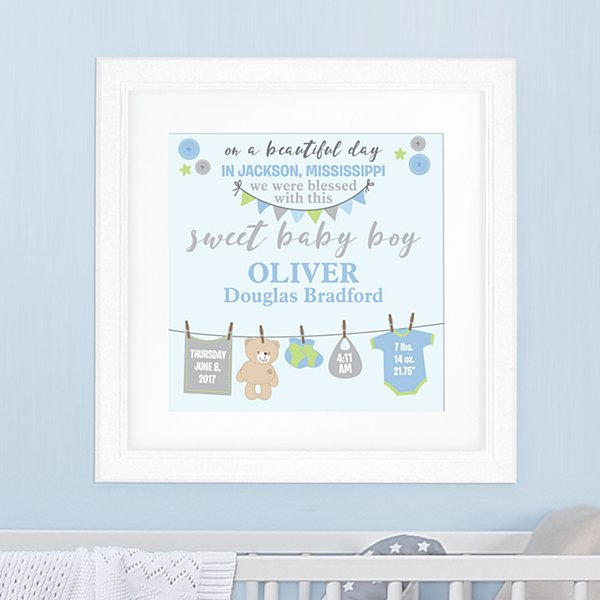 Born on this Beautiful Day Square Framed Print