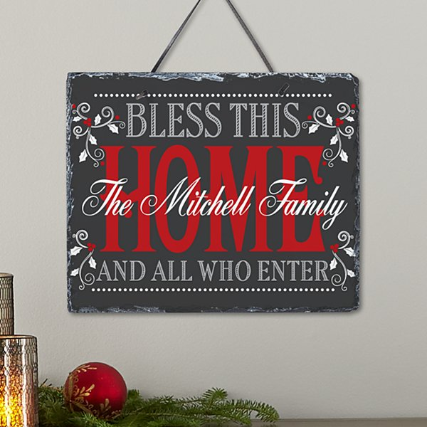 Christmas Bless The Home Slate