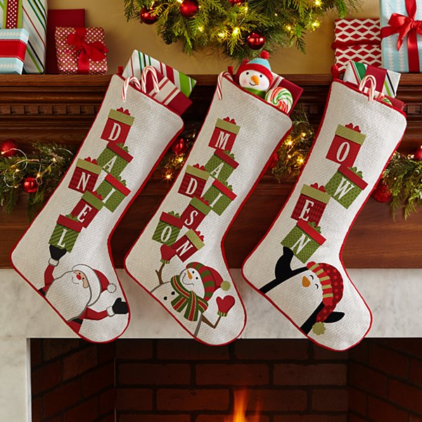 Stacking Presents Name Stocking