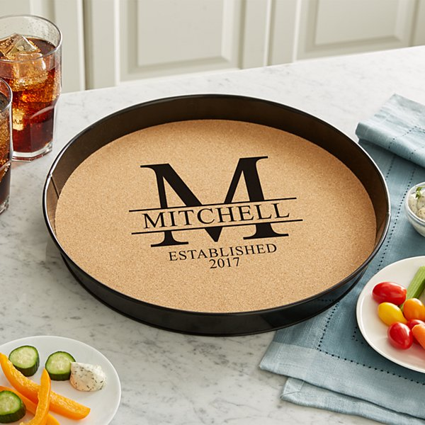 Family Name Cork Serving Tray