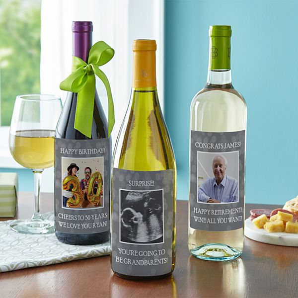Custom Photo Wine Labels (Set of 4)