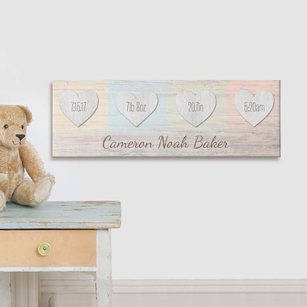 Baby Hearts Birth Info Canvas