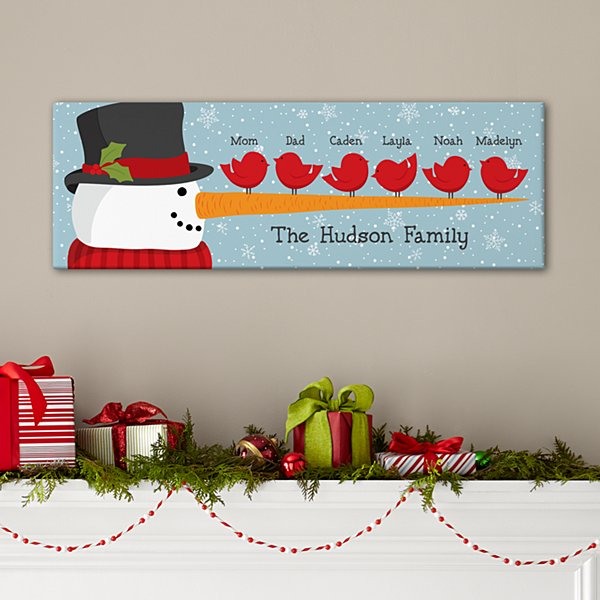 Cheery Snowman Bird Family Canvas