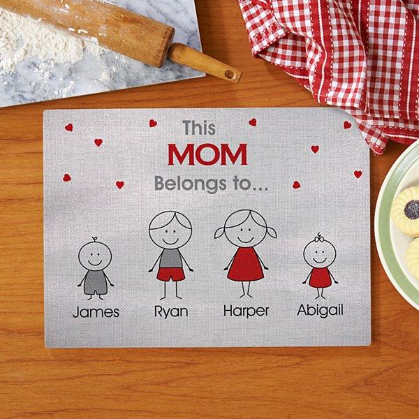 Family Belonging Glass Cutting Board