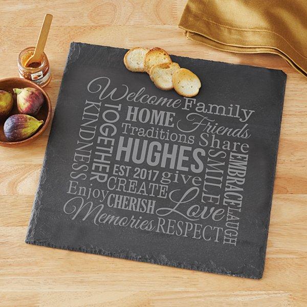 Family Word Art Slate Serving Board