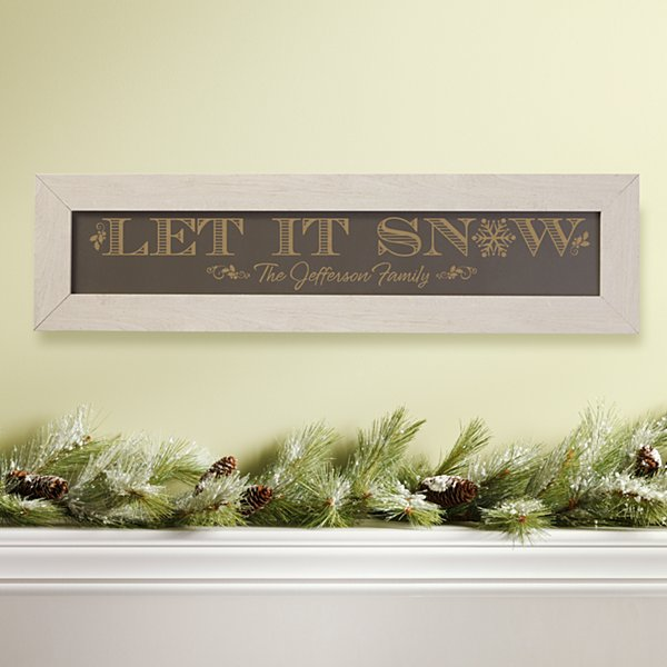 Let It Snow Framed Wood Sign