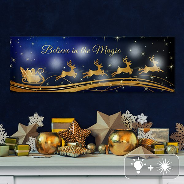 TwinkleBright® LED Santa Sleigh Canvas