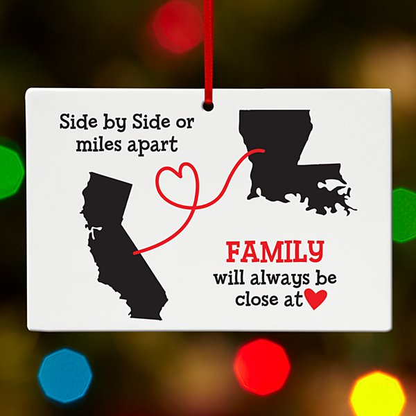 Miles Apart, Close at Heart Rectangle Ornament