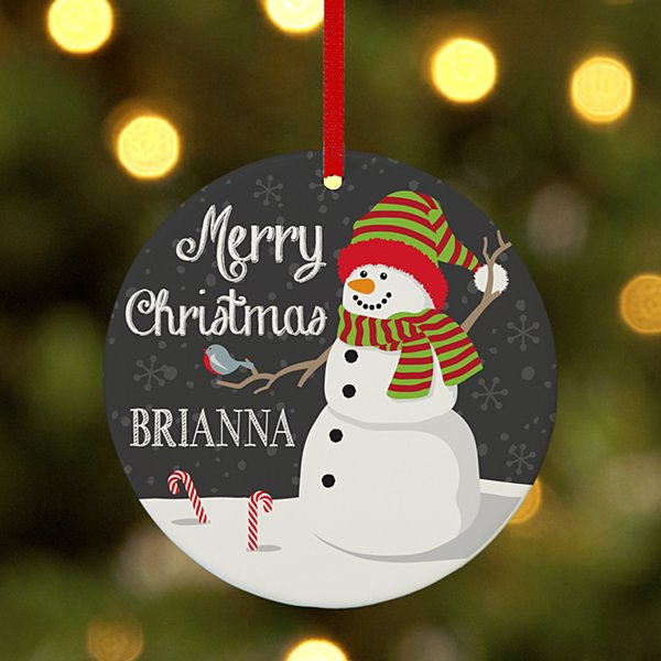 Wintertime Fun Snowman Round Ornament