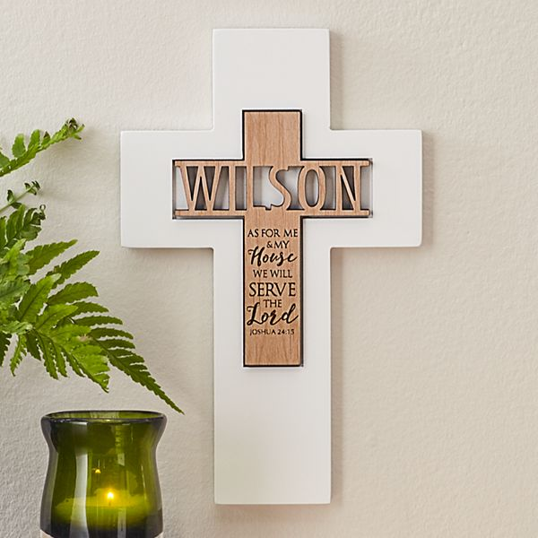 Our House Serves the Lord Wooden Cross