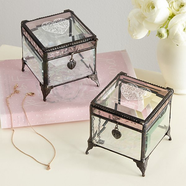 Message on Her Heart Glass Jewelry Box