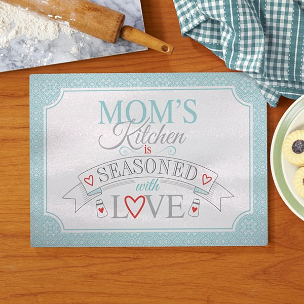 Seasoned With Love Glass Cutting Board