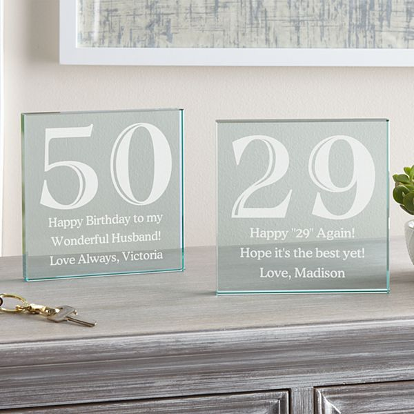 Any Message Birthday Glass Block