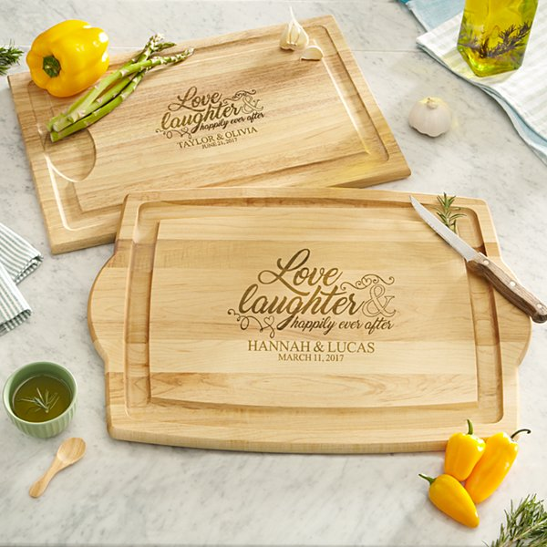 Love & Laughter Wood Cutting Board