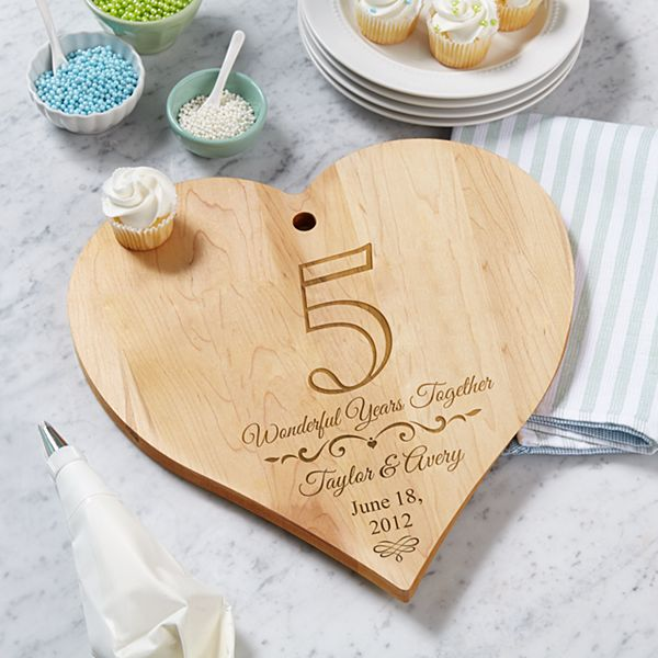 Anniversary Heart Wood Cutting Board
