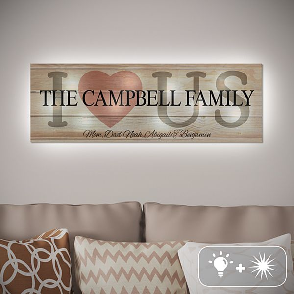 TwinkleBright® LED I Love Us Canvas