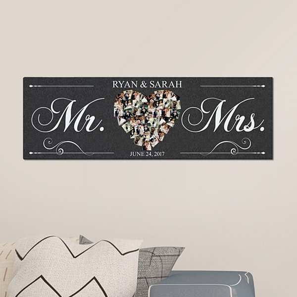 Just Married Photo Heart Canvas