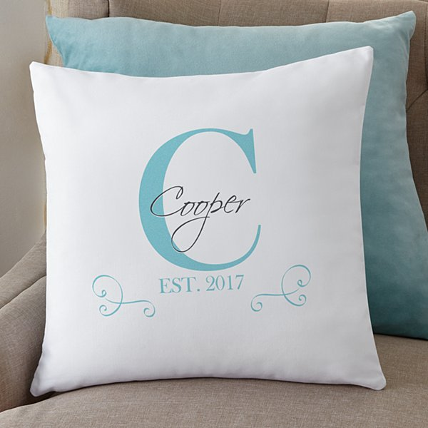 Family Initial & Name Throw Pillow