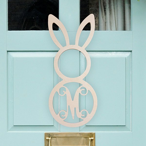 Initial Bunny Wood Welcome Sign