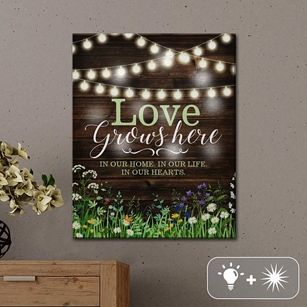 TwinkleBright® LED Love Grows Here Canvas
