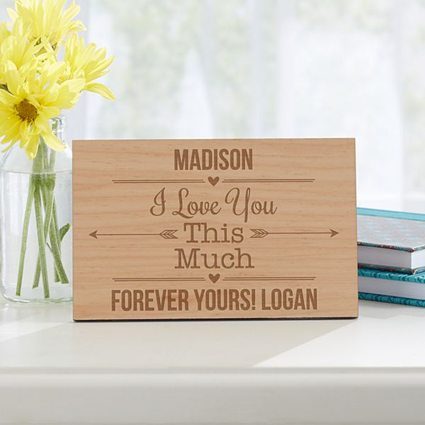 I Love You This Much Wood Postcard