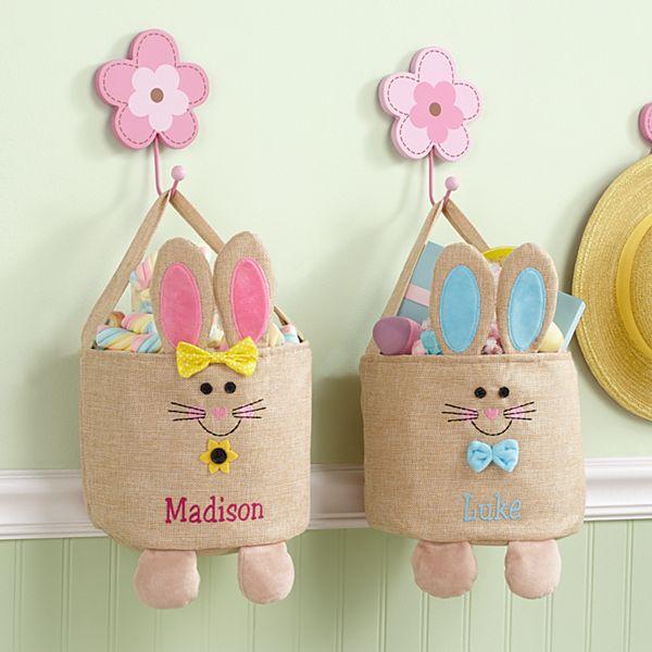 Jumpin' Bunny Burlap Easter Basket