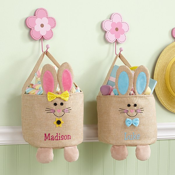 Jumpin' Bunny Burlap Easter Basket