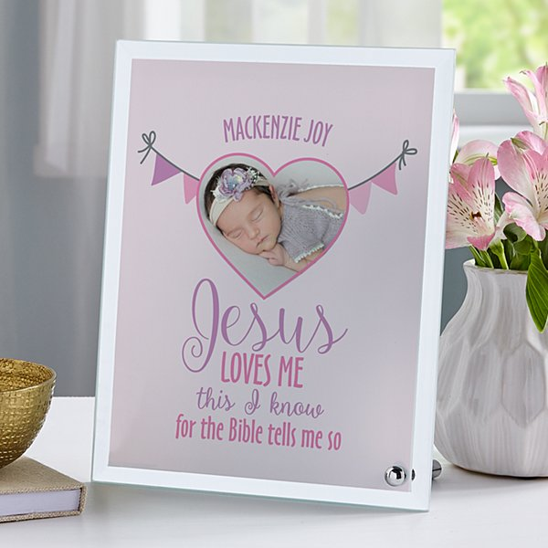 Jesus Loves Me Glass Photo Frame