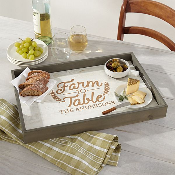 Farm to Table Rustic Wood Serving Tray