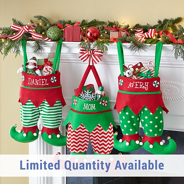 Jingle Bell Elf Pants Personalized Stocking