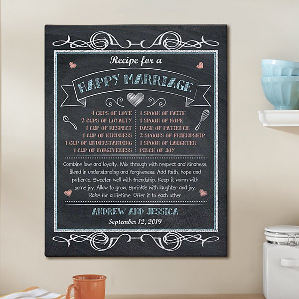 Happy Marriage Recipe Canvas