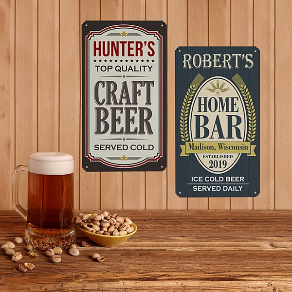 Rustic Metal Bar Signs