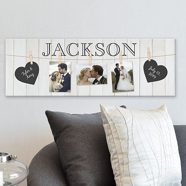 Hang On To Love Wedding Photo Canvas