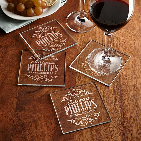 Decorative Label Glass Coasters
