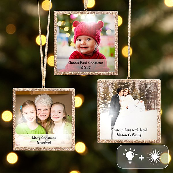 TwinkleBright® LED Photo with Message Gold Ornament
