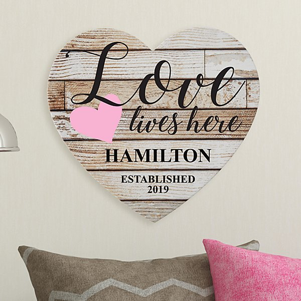 Love Lives Here Wood Heart