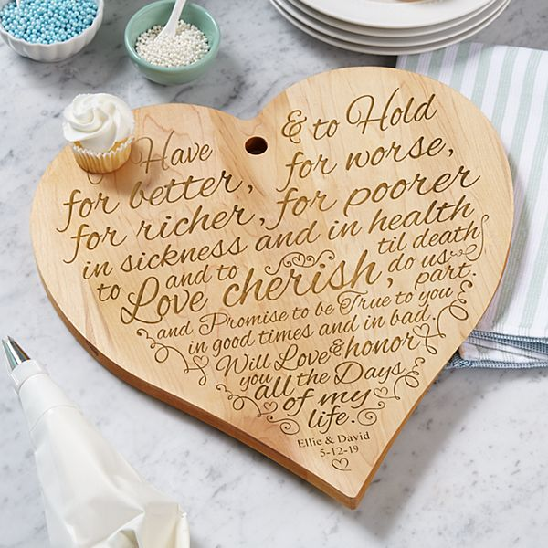 Wedding Vows Wood Heart Cutting Board