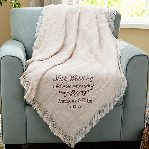 Elegant Anniversary Embroidered Throw