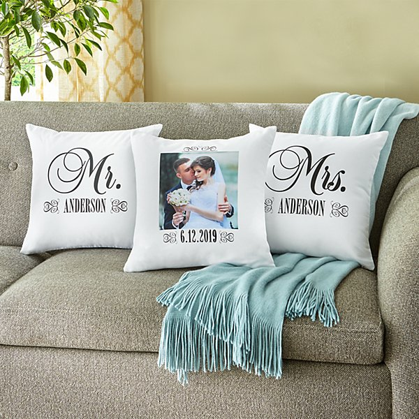 Just Married Photo Throw Pillow - Set of 3