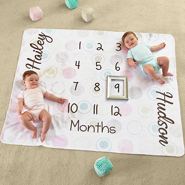 Twin Monthly Milestone Plush Blanket
