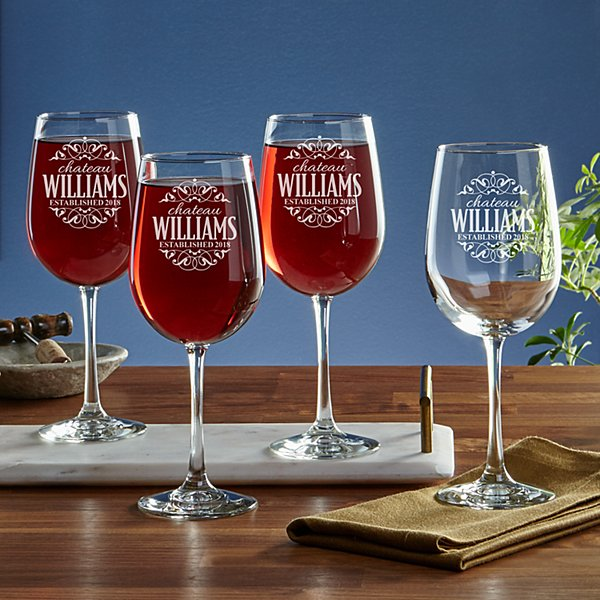 Decorative Label Stemware Glasses - Set of 4