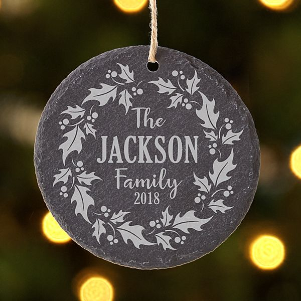 Holiday Wreath Slate Ornament