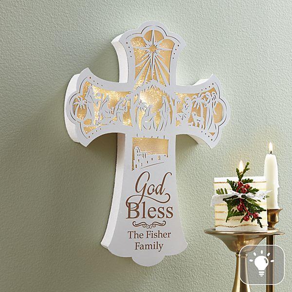 Illuminated Nativity Wall Cross