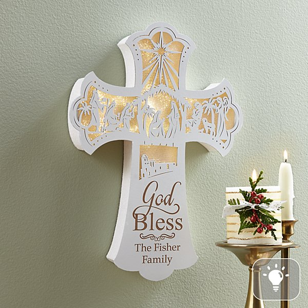 Illuminated Nativity Wall Cross