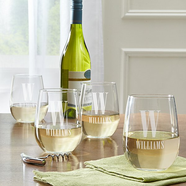 Initially Yours Stemless Wine Glasses (set of 4)