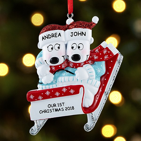 Sledding Polar Bear Couple Ornament