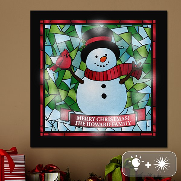 TwinkleBright® LED Snowman Stained Glass Canvas
