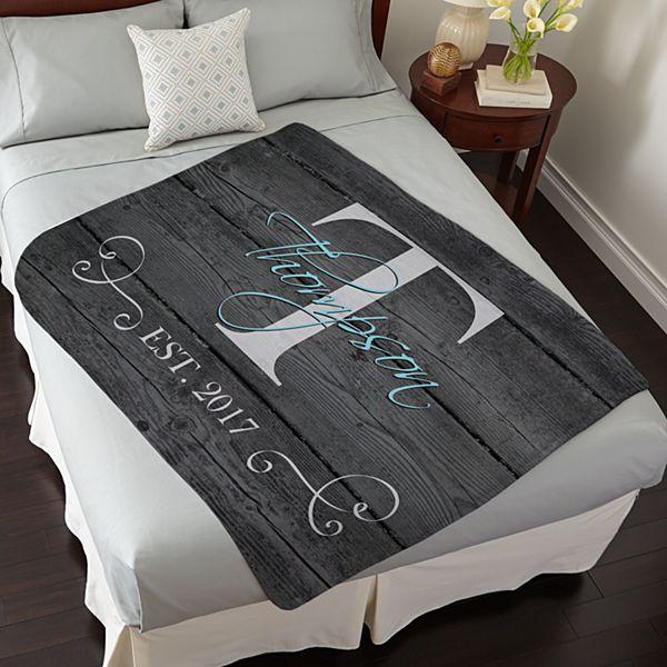 Family Initial & Name Plush Blanket