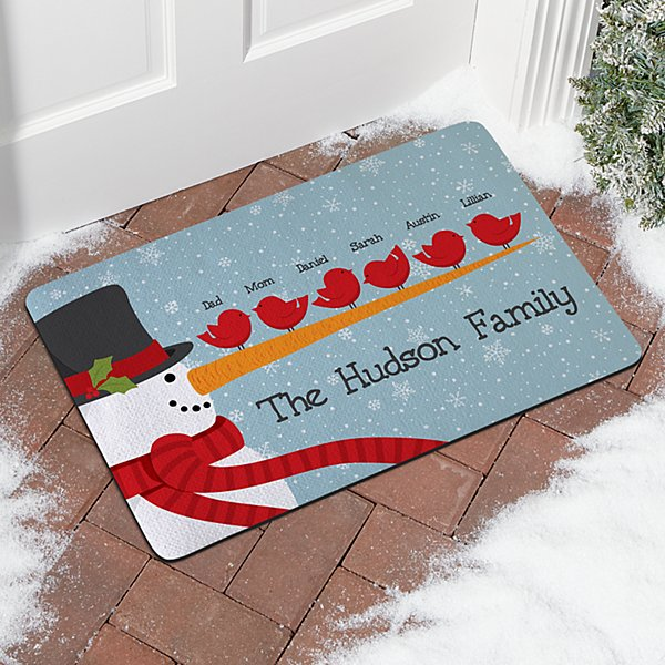 Cheery Snowman Bird Family Doormat