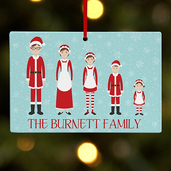 Dressed for the Holidays Family Wooden Rectangle Ornament